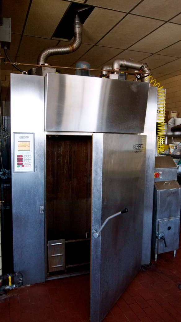 This smokehouse is fairly new and is in the same spot as the original smokehouse.  It can be used to make a variety of cooked, smoked, and/or cured products.  Some controls possible are temperature and humidity.